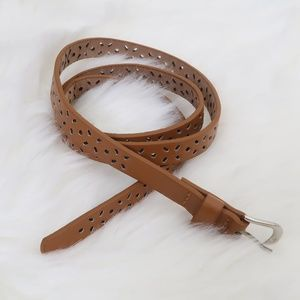 Floral Waist Belt Small Brown